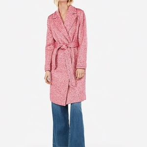 NEW pink NWT express wool blend tie front coat